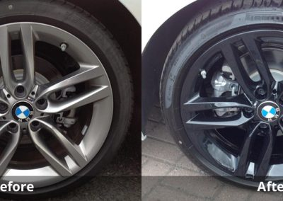 Before and after: Alloy wheel colour change - from ferric grey to gloss black